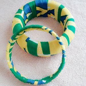 3 Sets Green Fabric Bracelets for Women